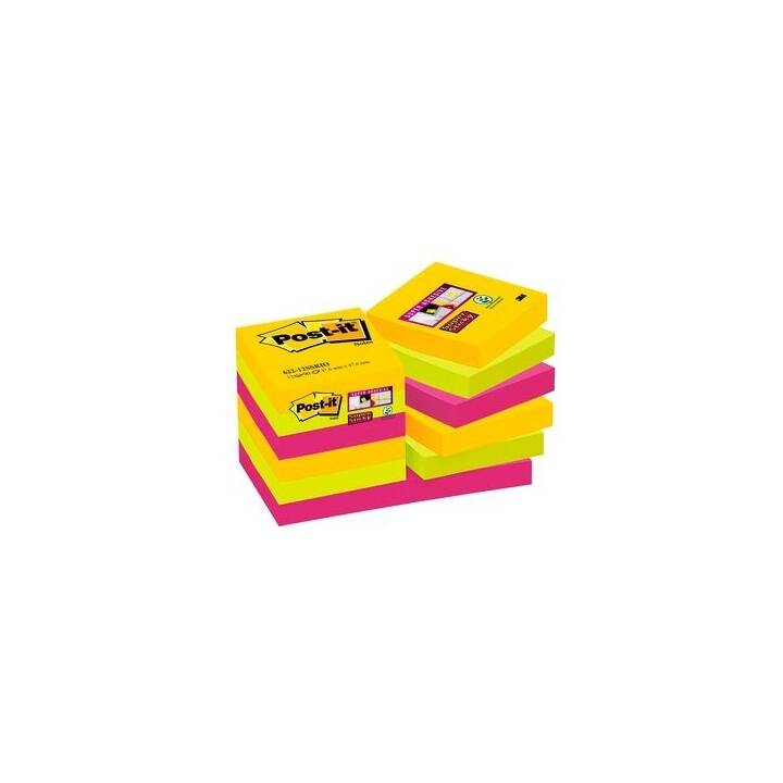 3M Notes autocollantes 47.6 x 47.6 mm (Orange, Jaune, Pink)