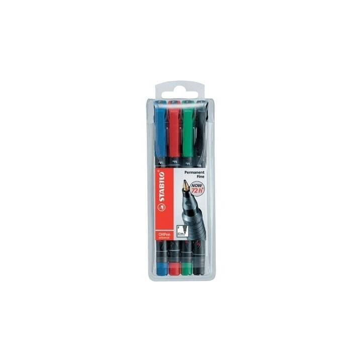 STABILO Folienschreiber OHPen 842 (Schwarz, Blau, Grün, Rot, 4 Stück)