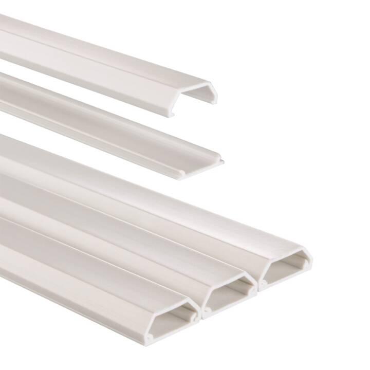 Goulotte en PVC HAMA, 100 x 2,1 x 1 cm, blanche, 3 pièc.