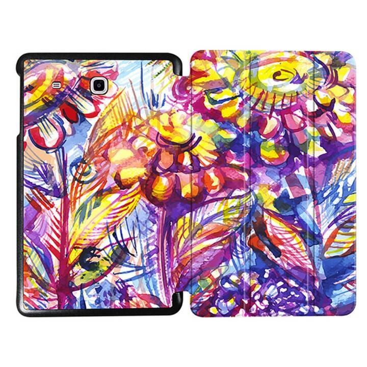 """EG MTT Tablet Tasche mit faltbarer Abdeckung für Samsung Galaxy Tab E 9.6 """"- Lila Blumen"""