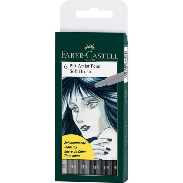 FABER-CASTELL Brushpen Pitt Artist Pen Soft Brush 6er Etui