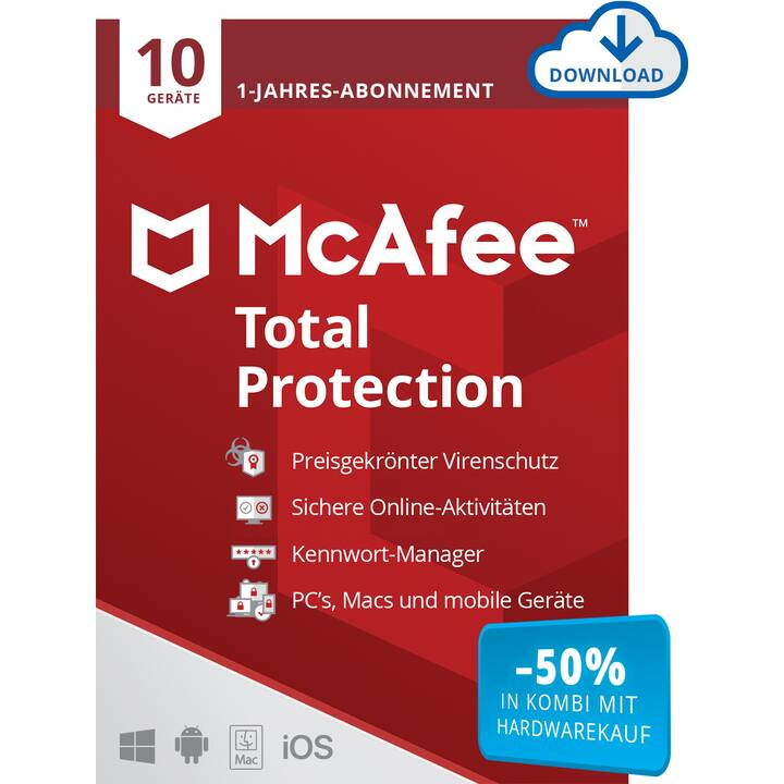 MCAFEE Total Protection (Abbonamento, 10x, 1 anno, Tedesco, Francese, Italiano)