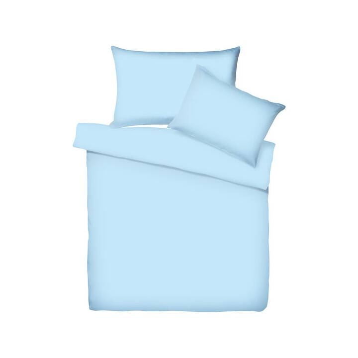LIVING HOME Copripiumone Uni Satin (160 cm x 210 cm, Azure Blue)