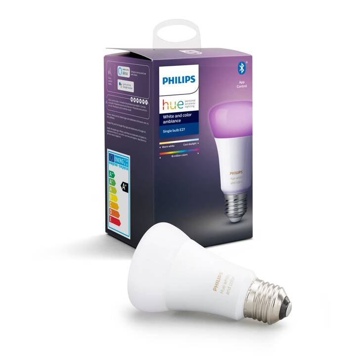 PHILIPS HUE Ampoule LED White & Color Ambiance BT (E27, ZigBee, Bluetooth, 9 W)