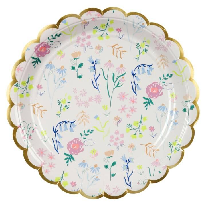 MERI MERI Floral assiettes jetables (23 cm, 8 pièce)