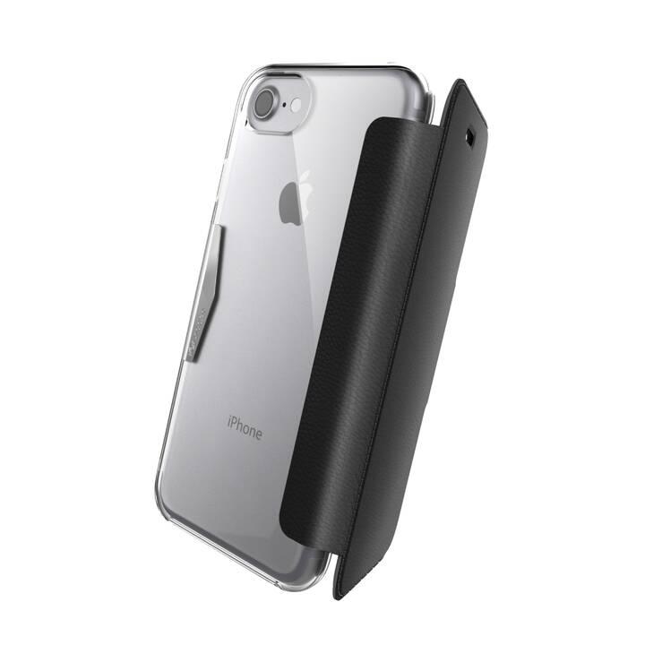 RAPTIC Flipcover Engage Folio (iPhone SE 2020, iPhone 8, iPhone 7, Schwarz, Transparent)