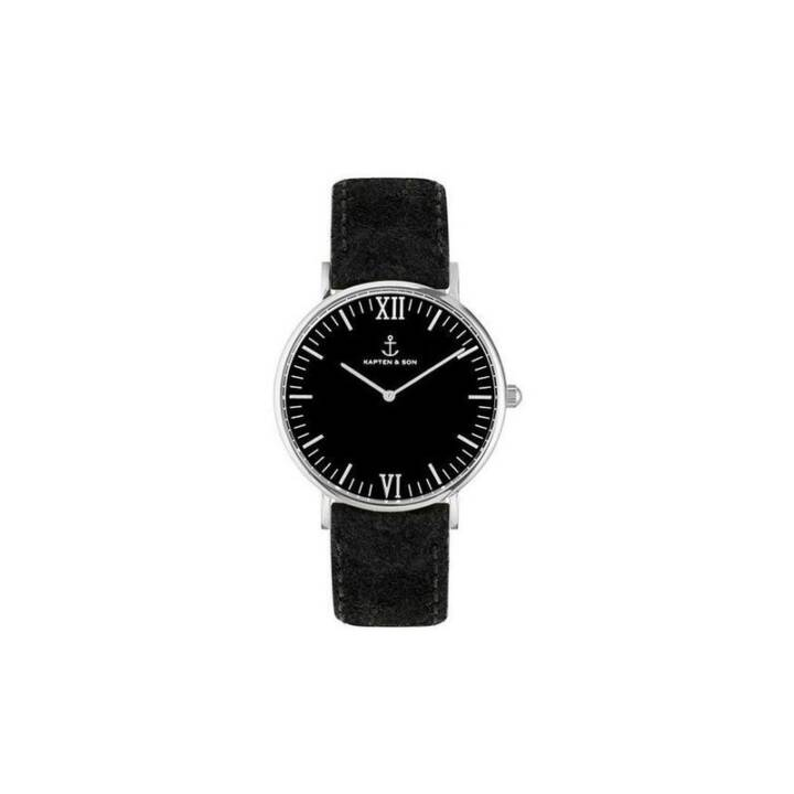 KAPTEN & SON Campina Silver All Black Vintage (Montre analogique, 3.6 cm)