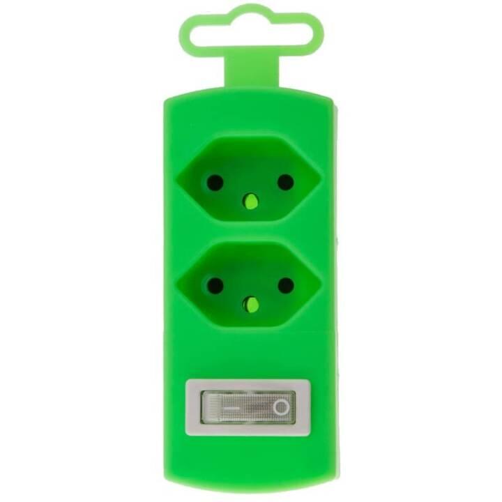 MAX HAURI Connettore di diramazione 2xTyp13 maxTex Fluo-Green incl. interruttore