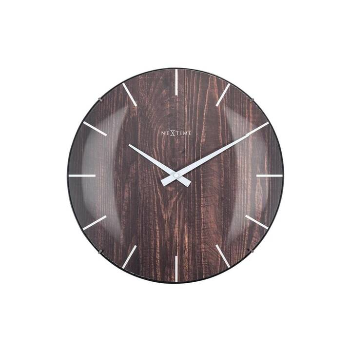NEXTIME Edge Wood Dome Orologio da parete (Analogico, 35 cm)