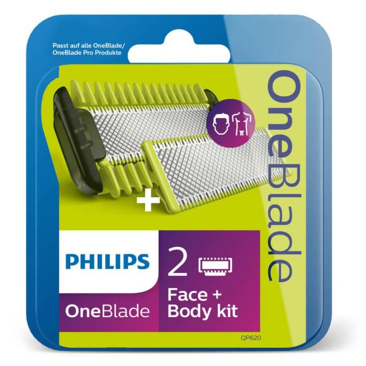 PHILIPS Ersatzklingen für Herrenrasierer OneBlade Face + Body QP620/50 (2 Stück)