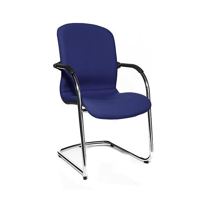 TOPSTAR Open Chair Konferenzstuhl (Blau, Schwarz, Chrom, 2 Stück)