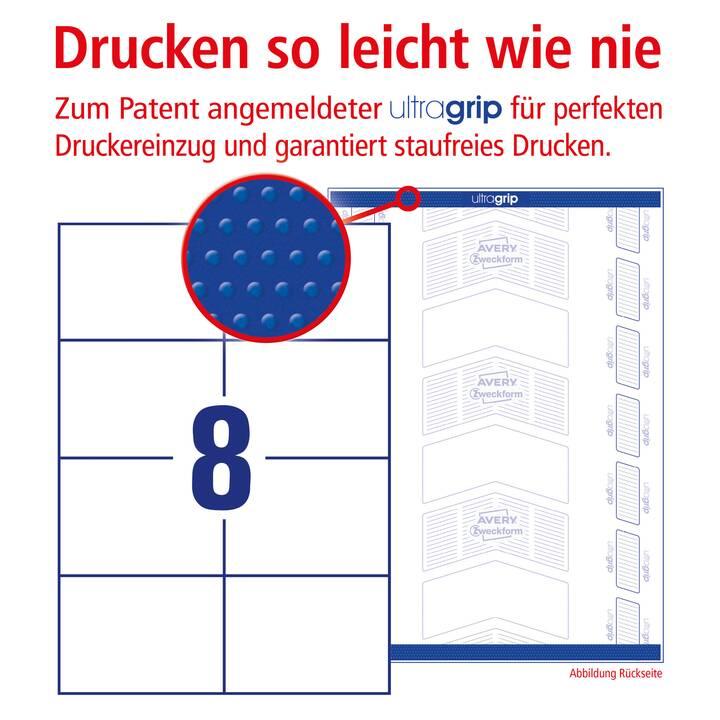 AVERY ZWECKFORM 3427-200 ultragrip Etiketten (A4, 105 x 74 mm, 220 Blatt)