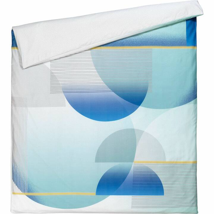 ESPRIT Housse de couette Osra (200 cm x 210 cm, Bleu, Blanc, Jaune)