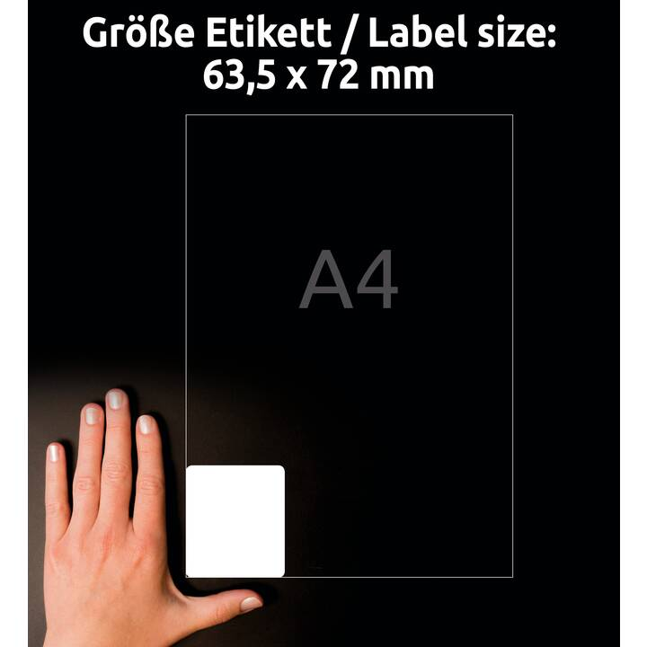 AVERY ZWECKFORM L7164-100 ultragrip Ettiquettes (A4, 63.5 x 72 mm, 100 feuille)