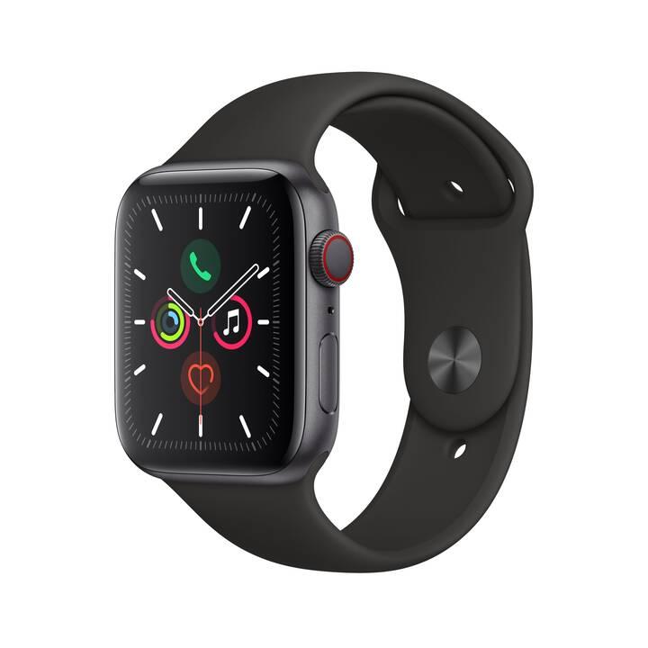 APPLE Watch Series 5 GPS + LTE Space Grau/Schwarz (44 mm, Aluminium, Silikon)