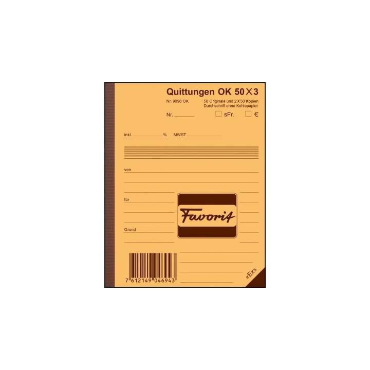 FAVORIT Formularbuch Quittungen A6 Durchschreibepapier 50x3 Blatt