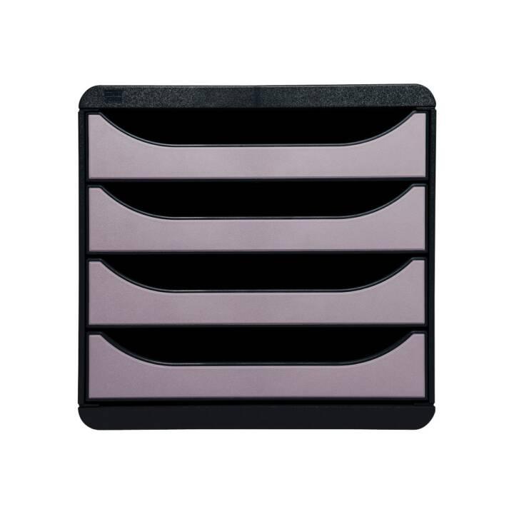 EXACOMPTA Cassettiera Big-Box, nero, 4 scomparti