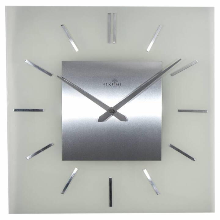 NEXTIME Wanduhr Stripe Square RC Silber