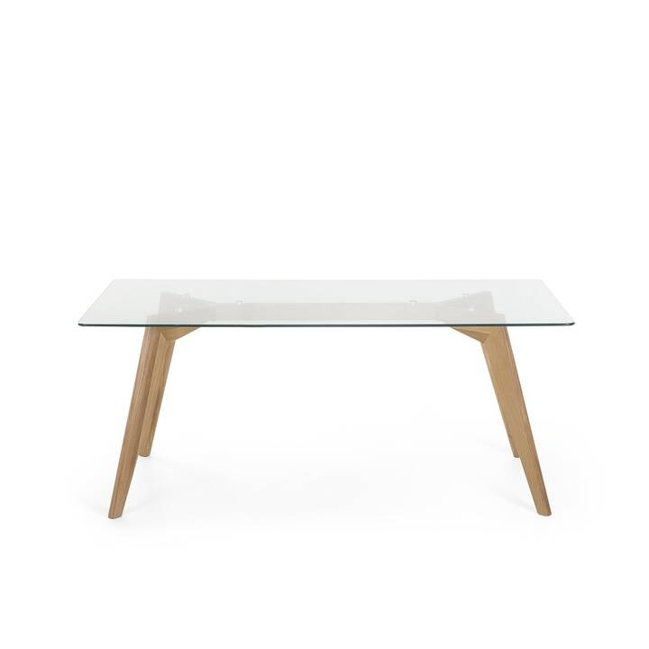 BELIANI Table de repas Hudson (180 cm x 90 cm x 75 cm, Transparent, Bois)