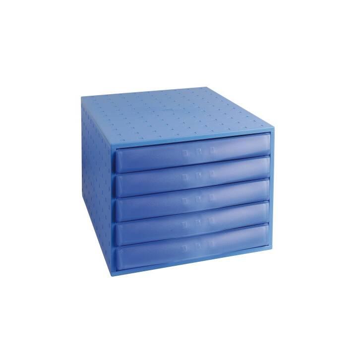 Cassettiera EXACOMPTA blu 5 scomparti