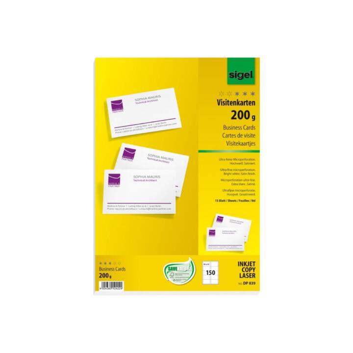 SIGEL Visitenkarten Microperforiert 85 x 55 mm - 150 Stück