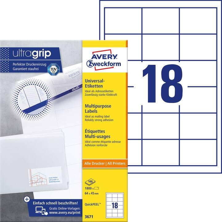AVERY ZWECKFORM 3671 ultragrip Etichette (A4, 64 x 45 mm, 100 foglio)