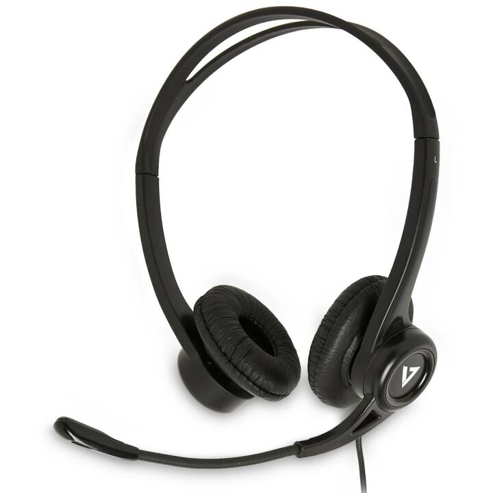 VIDEOSEVEN Essentials USB Stereo-Headset (On-Ear, Nero)