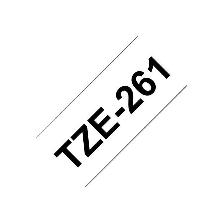 BROTHER TZe261 Schriftband (3.6 cm x 800 cm, Schwarz / Weiss)