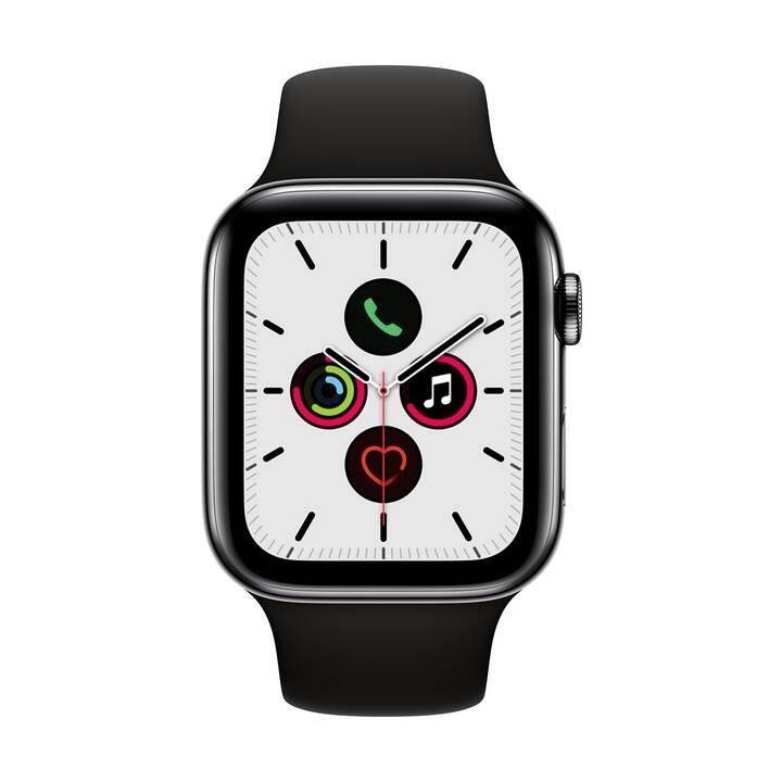 APPLE Watch Series 5 GPS + LTE Space Schwarz/Schwarz (44 mm, Edelstahl, Silikon)