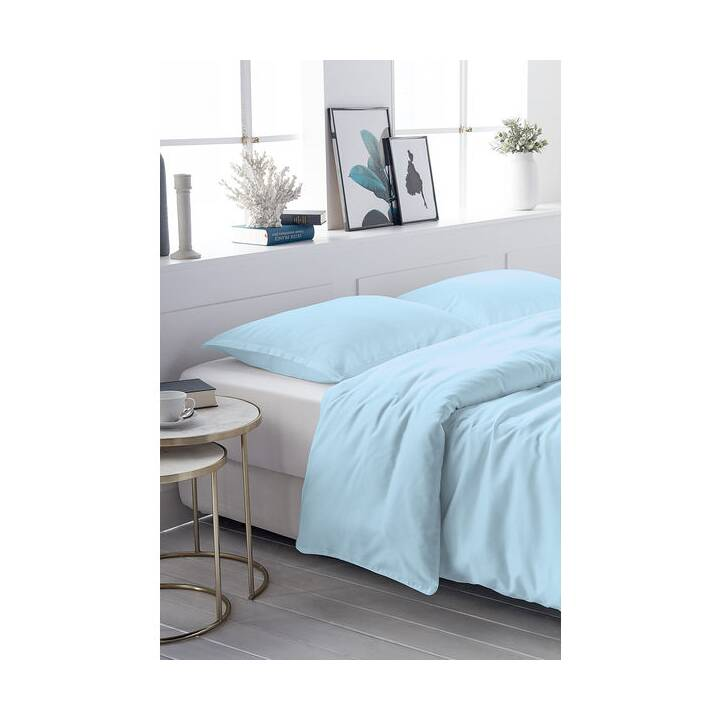 LIVING HOME Copripiumone Uni Satin (240 cm x 240 cm, Azure Blue)