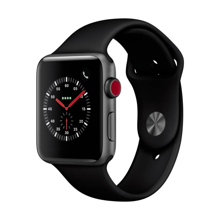 APPLE Watch Series 3 GPS + Cellulaire, 42mm Boîtier aluminium, gris espace, avec bracelet sport en silicone, noir