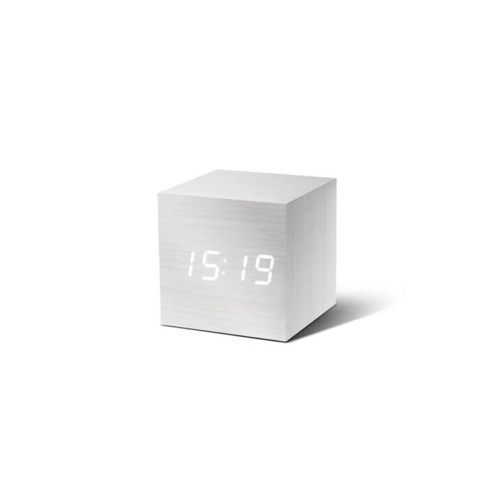 GINGKO Cube Click Clock (Weiss, Klassischer Wecker)