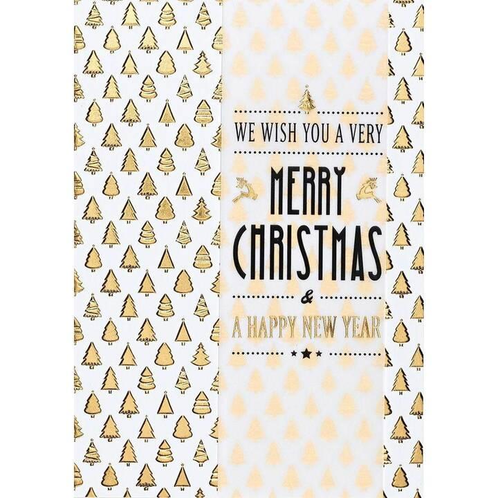 PERLEBERG Weihnachtskarte Merry Christmas (Weihnachten / Advent, Weiss, Gold)