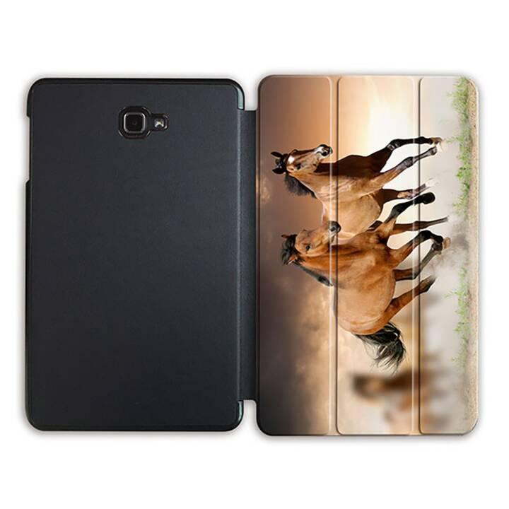 """EG MTT Sacoche à comprimés avec housse Smart pliable pour Samsung Galaxy Tab A 10.1"""" (2016) Tablet Horses"""
