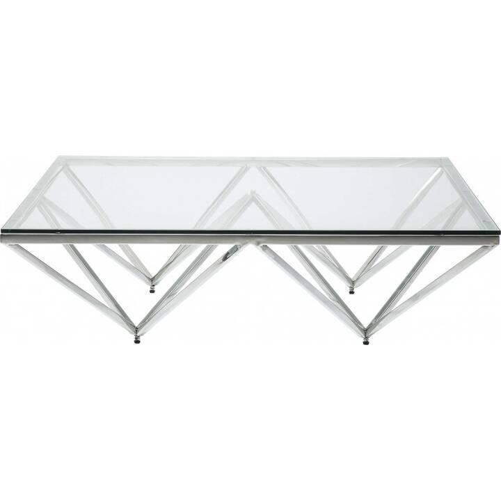 KARE Tavolino da salotto Network (32 cm, Transparente, Acciaio inox)