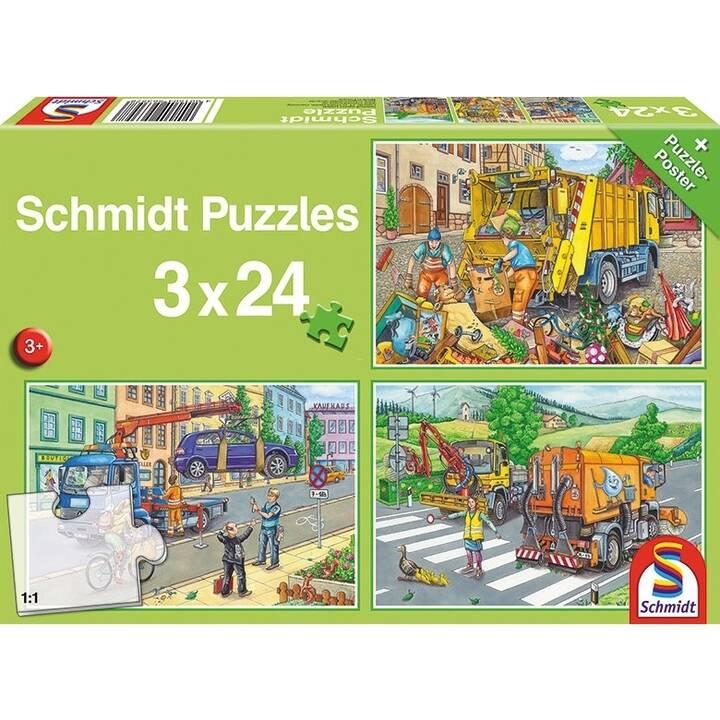 SCHMIDT Müllwagen, Abschleppauto und Kehrmaschine Puzzle (3 x 24 pièce)