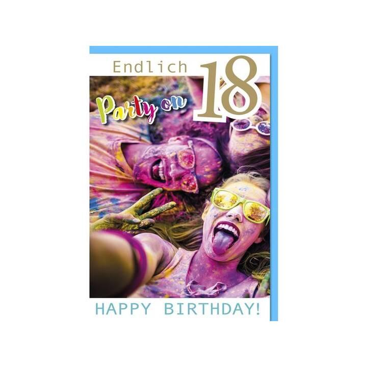 BRAUN + COMPANY Biglietto di auguri Endlich 18, Party on (Compleanno, Multicolore)
