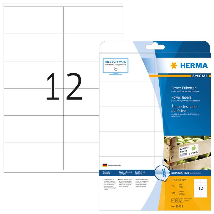 HERMA Ettiquettes (A4, 105 x 48 mm, 25 feuille)