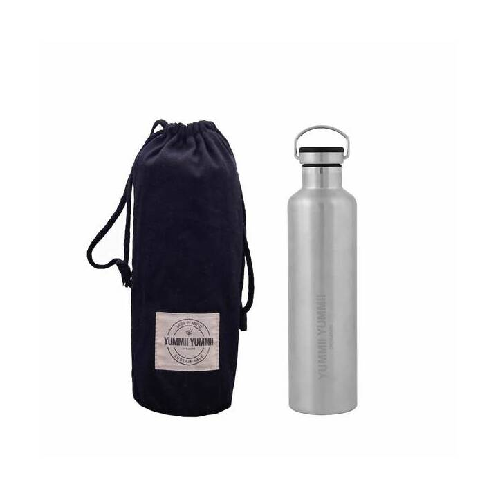 YUMMII YUMMII Thermo Trinkflasche (1000 ml, Silber, Schwarz)
