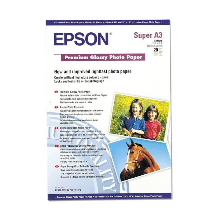 EPSON Premium Glossy Papier photo (A3+, 20 Pièce)