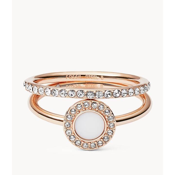 FOSSIL Anneau de bijoux (56, Acier inox, Cristal de verre)