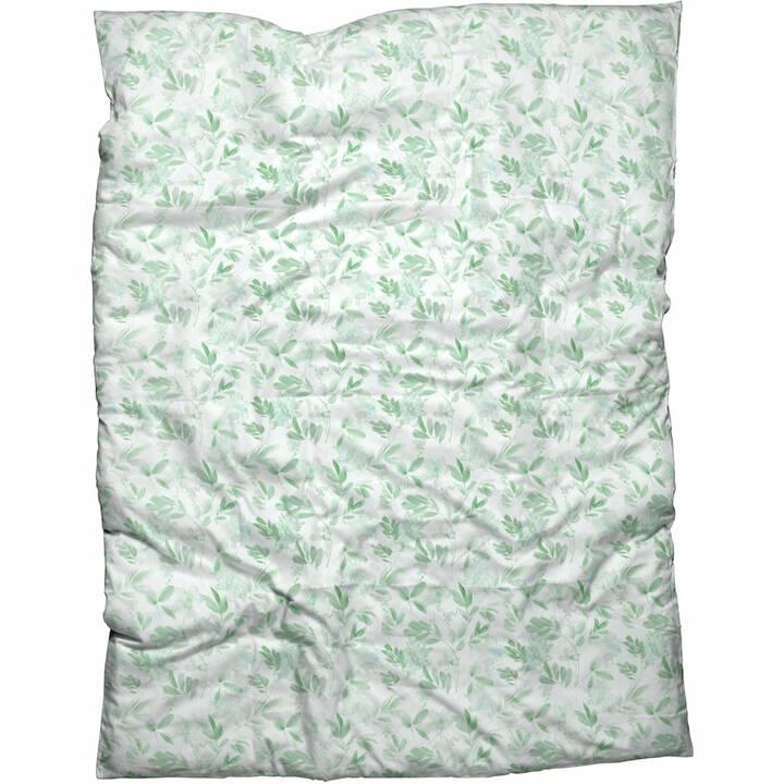 LIVIQUE Housse de couette Elida (160 cm x 210 cm, Vert, Blanc)
