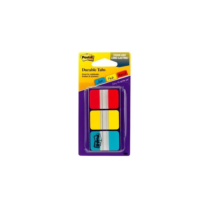 3M Haftnotizen (25.4 mm x 38 mm, Gelb, Rot, Blau)