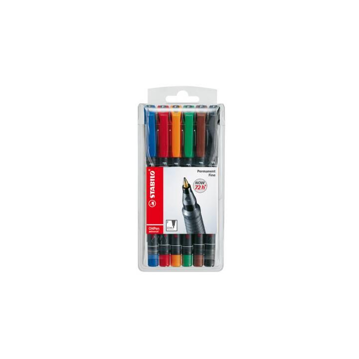 STABILO Marqueur permanent OHPen Universal (Multicolore, 6 Pièce)