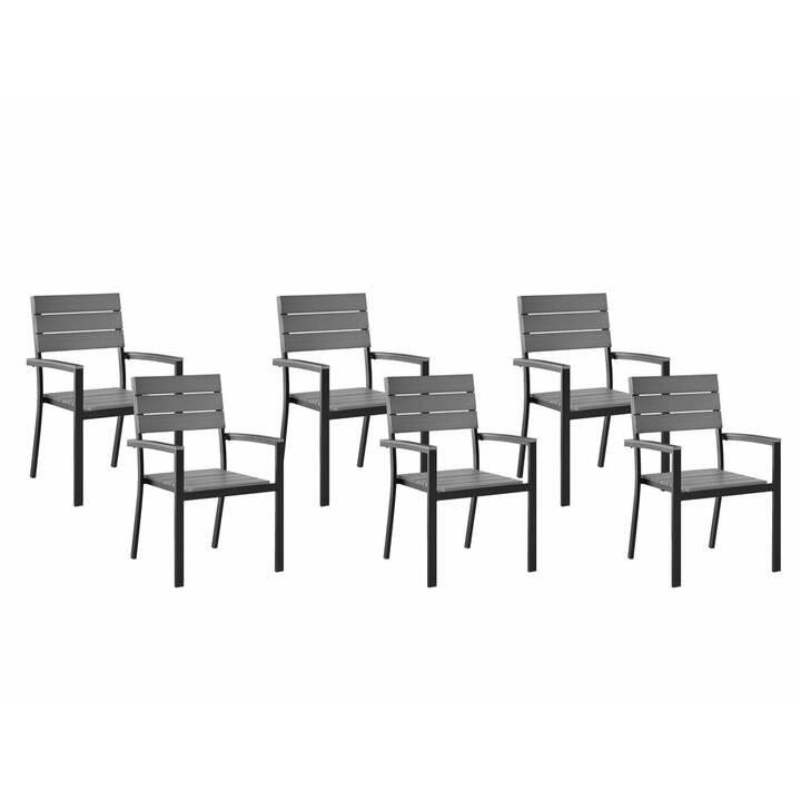 BELIANI Sedia da giardino Como (Gris, Noir, 6 pièce)