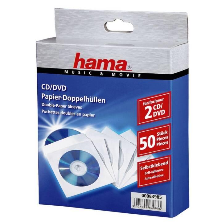 HAMA pochettes doubles en papier pour 100 CD/DVD/BD