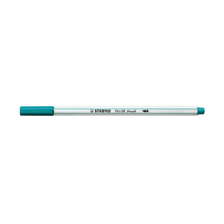 STABILO Pen 68 brush Filzstift (Türkis, 1 Stück)