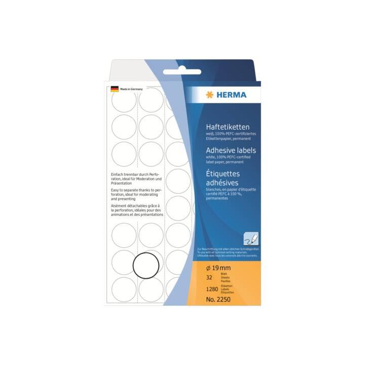 Etiquettes HERMA rondes 19mm blanc