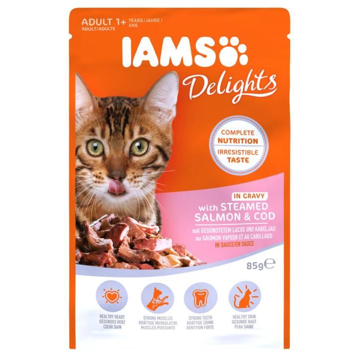 IAMS Delights (Adulte, 85 g, Saumon, Cabillaud)