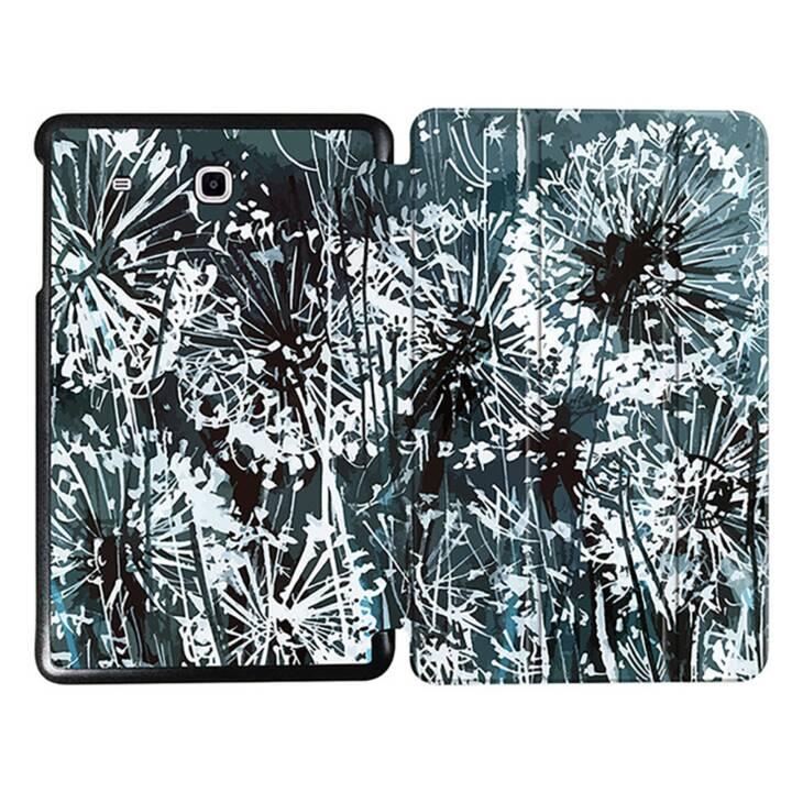 """EG MTT Sacoche à comprimés avec couvercle rabattable pour Samsung Galaxy Tab E 9.6"""" - Fleurs grises"""